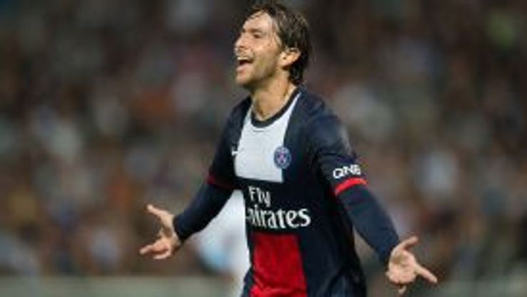Maxwell celebrates his equaliser for PSG.