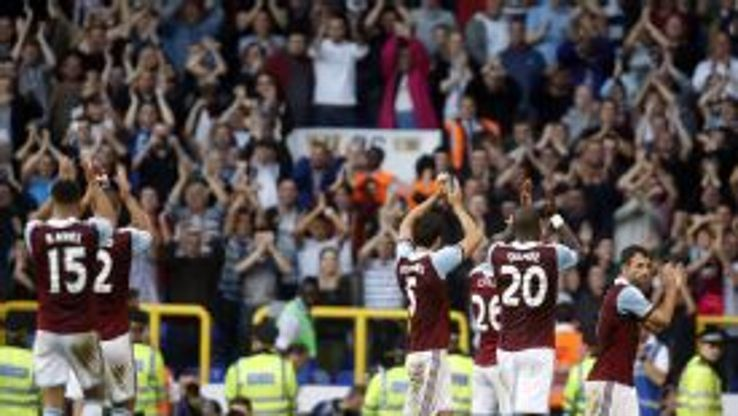 West Ham players clap their fans after the 3-0 Premier League win against Tottenham at White Hart Lane.