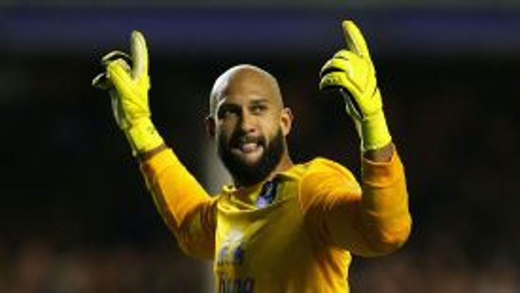 Tim Howard celebrates his assist in Everton's recent victory over Newcastle.
