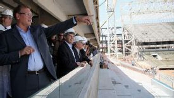 Jerome Valcke inspects the Arena Pantanal in Cuiaba on Tuesday.