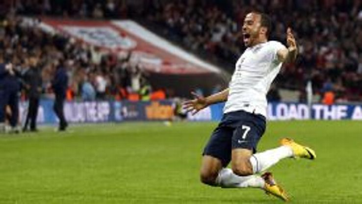 Andros Townsend celebrates his debut goal for England against Montenegro.
