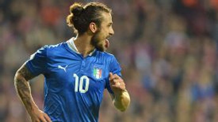 Pablo Osvaldo celebrates giving Italy an early lead in Denmark.