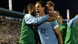 Uruguay celebrate their victory over Argentina.
