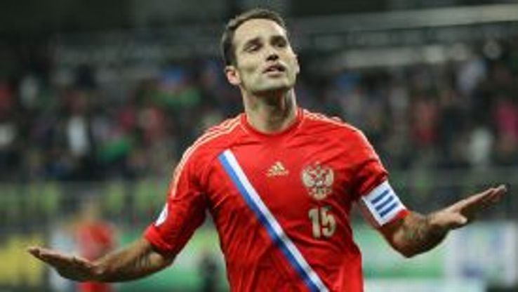 Roman Shirokov celebrates scoring in Russia's 1-1 draw with Azerbaijan.