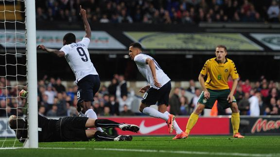 Ravel Morrison celebrates after opening the scoring for England just two minutes into the game.