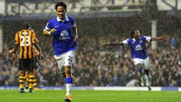 Steven Pienaar celebrate after scoring Everton's winner against Hull City.