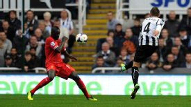 Yohan Cabaye's spectacular 30-yard strike gave Newcastle the lead against Liverpool.
