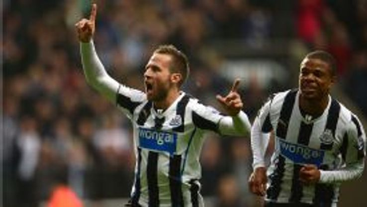 Yohan Cabaye celebrates his spectacular opener for Newcastle.