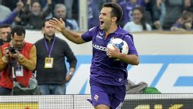 Giuseppe Rossi celebrates after his 14-minute hat trick earned Fiorentina a 4-2 comeback win at home to Juventus.