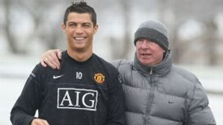 Cristiano Ronaldo is all smiles as Sir Alex Ferguson puts an arm round his star player in February 2009.