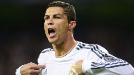 Cristiano Ronaldo celebrates after scoring after only four minutes against Juventus.