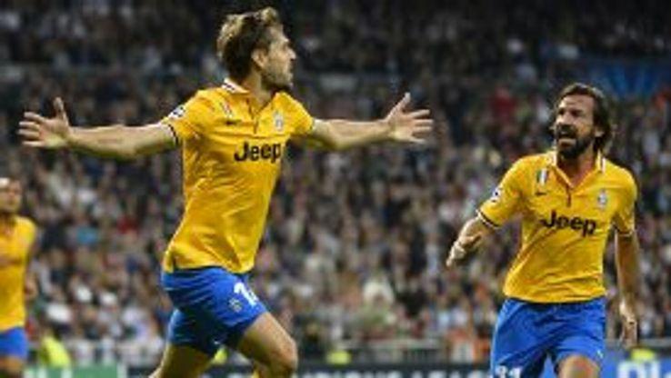 Fernando Llorente celebrates with Andrea Pirlo after bringing Juventus back level at Real.
