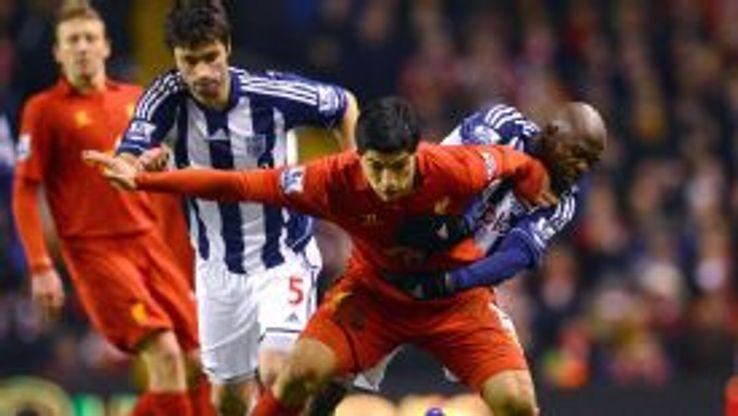 Luis Suarez West Brom battle