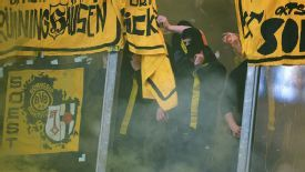 Dortmund fans at the Veltins-Arena ahead of the kick-off.