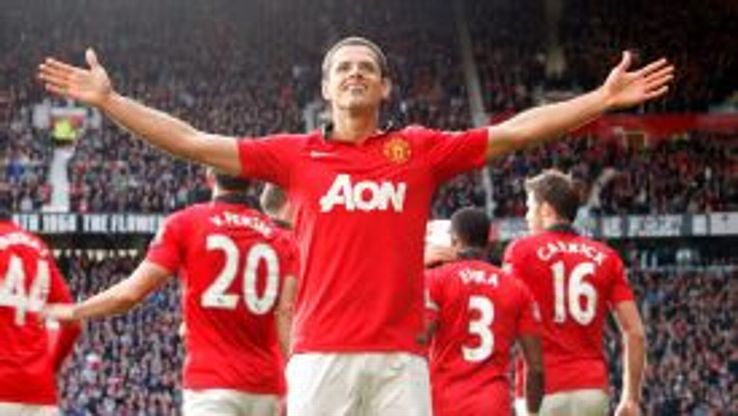 Javier Hernandez celebrates his late winner for Manchester United.