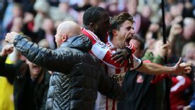 Fabio Borini runs to the supporters after scoring his late winner for Sunderland.