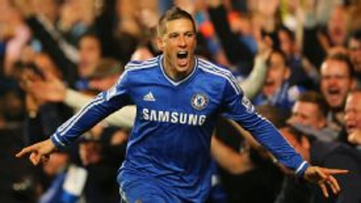 Fernando Torres celebrates his late winner against Manchester City.