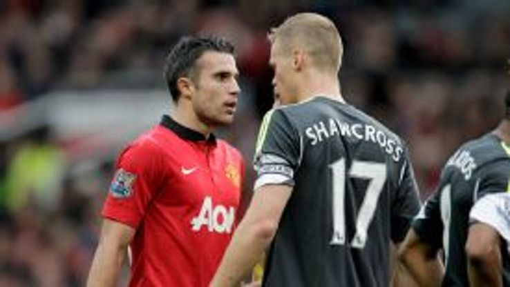 Robin van Persie and Ryan Shawcross came to blows at Old Trafford.