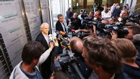 Rudi Voeller addresses the media following the court's ruling on Monday.