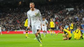 Gareth Bale celebrates after putting Real Madrid into an early lead against Sevilla.