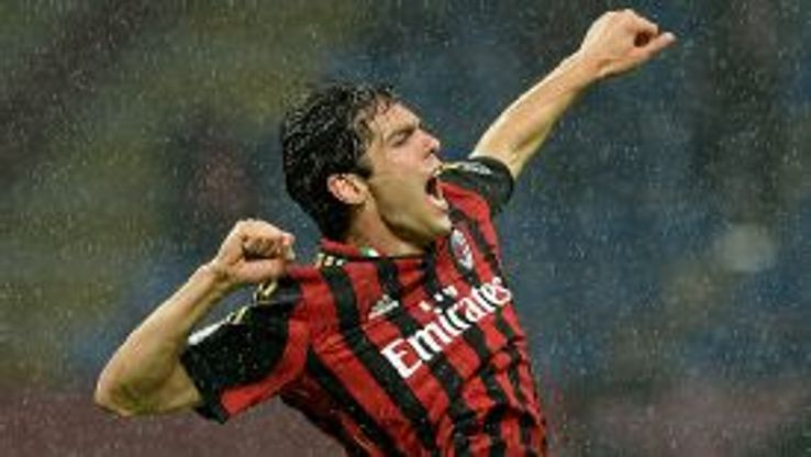 Kaka punches the air in delight after giving AC Milan the lead against Lazio.