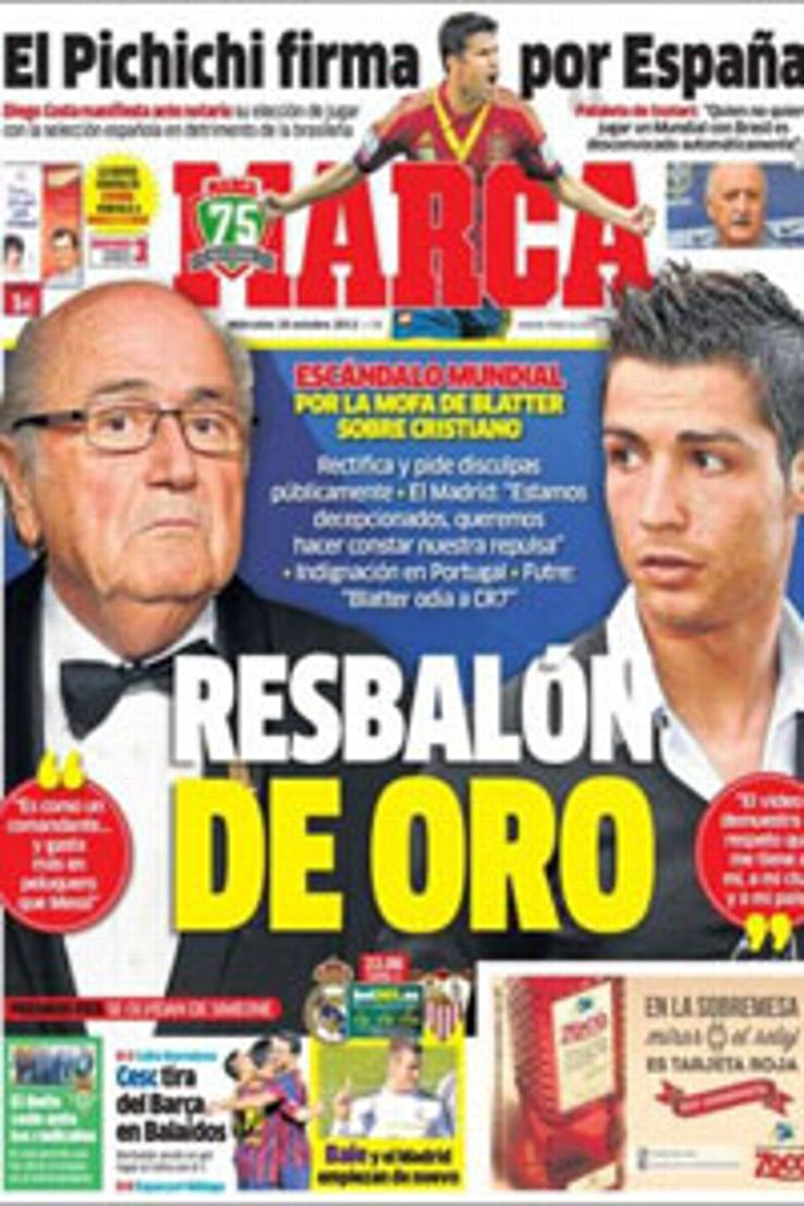 Madrid-based Marca called Blatter's comments a 'golden slip-up'