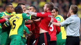 Norwich and Cardiff players confront one another in the Premier League.