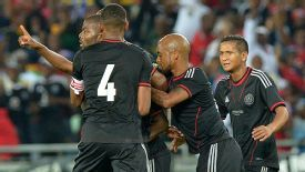 Orlando Pirates celebrate their late equaliser.