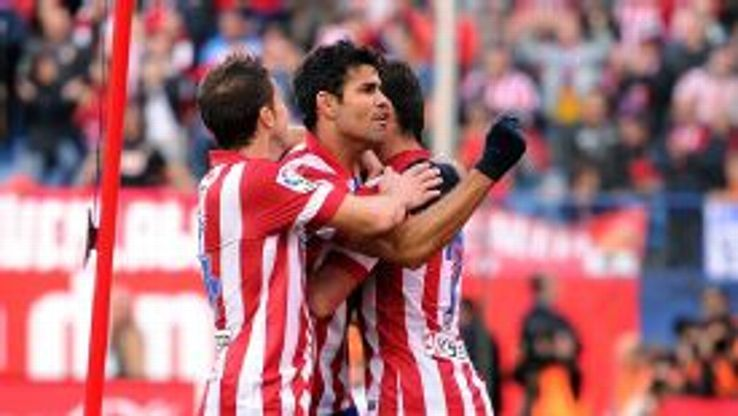 Diego Costa celebrates his goal for Atletico Madrid against Athletic Bilbao.