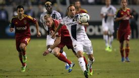 Landon Donovan breaks through the Real Salt Lake defence.