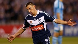 James Troisi celebrates after putting Melbourne Victory 3-0 up.