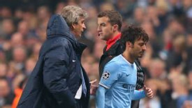 David Silva departed Man City's victory over CSKA with an injury.