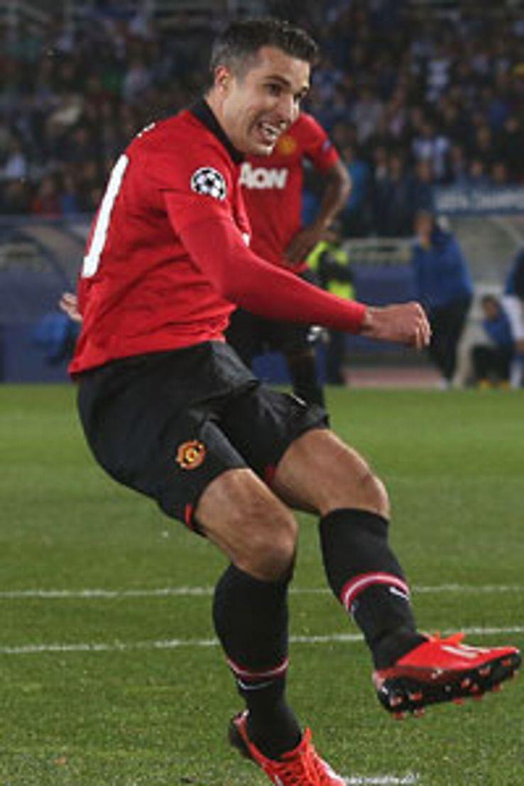 Robin van Persie misses from the spot against Real Sociedad.