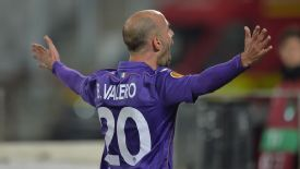 Borja Valero celebrates after scoring a late winner for Fiorentina.