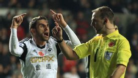 Angel Rangel vents his frustration at referee Robert Madley.