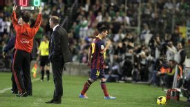 Lionel Messi leaves the field during Barcelona's victory over Real Betis.