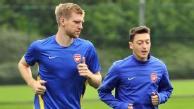 Arsenal duo Per Mertesacker and Mesut Ozil are struggling with illness.