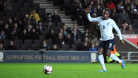 Saido Berahino scores his second against Finland.