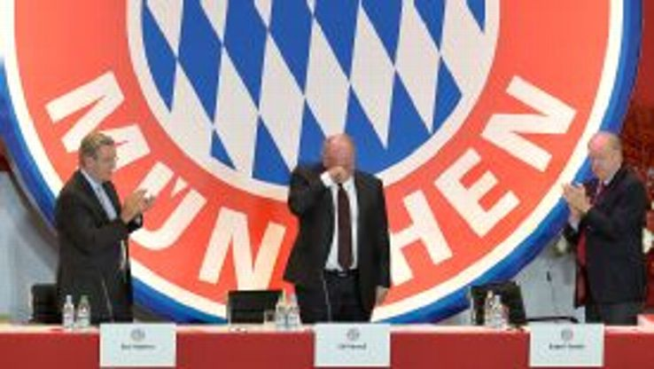 Uli Hoeness is reduced to tears at Bayern Munich's AGM.