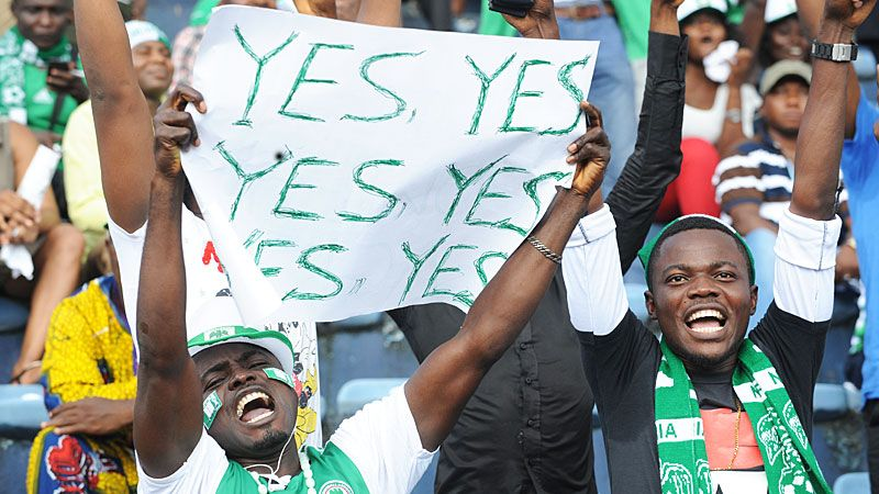 Nigeria fans celebrate qualifying for the World Cup finals.