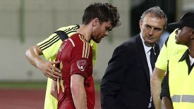 Xabi Alonso limps off just before half-time against Equatorial Guinea.