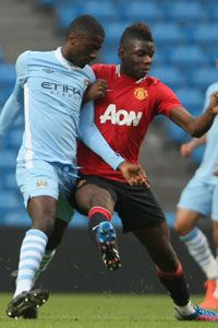 Paul Pogba in action for Man Utd reserves against Man City reserves shortly before he left Old Trafford in 2012.