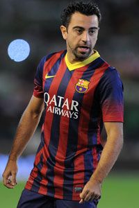 Xavi in action Barcelona