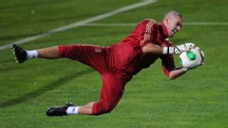 Victor Valdes will be replaced between the sticks by long-term deputy Jose Manuel Pinto.