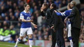 Leighton Baines was withdrawn against Liverpool after suffering an injury.