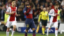 Neymar reacts to Barcelona's 2-1 loss to Ajax.