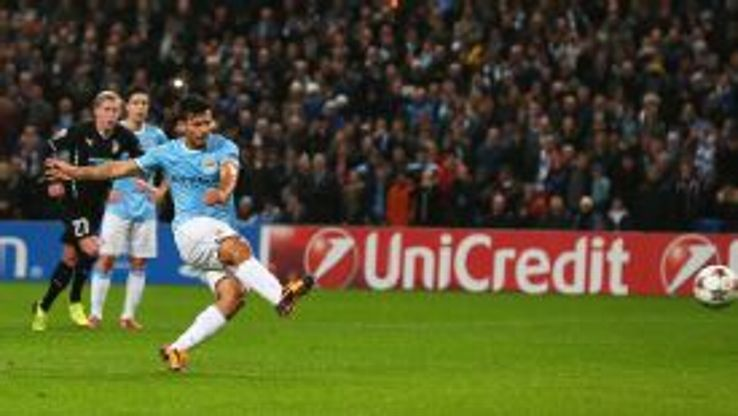 Sergio Aguero slotted home from the spot to continue his fine goalscoring form.