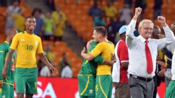 South Africa celebrate their victory over Spain.