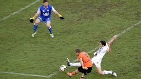 Besart Berisha scores for Brisbane Roar against Perth Glory.