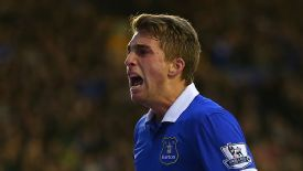 Gerard Deulofeu celebrates his opening goal for Everton against Stoke.